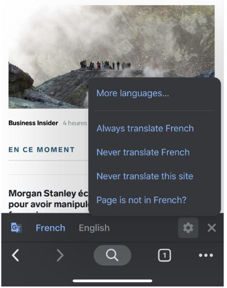 Translate Google Chrome on Mobile